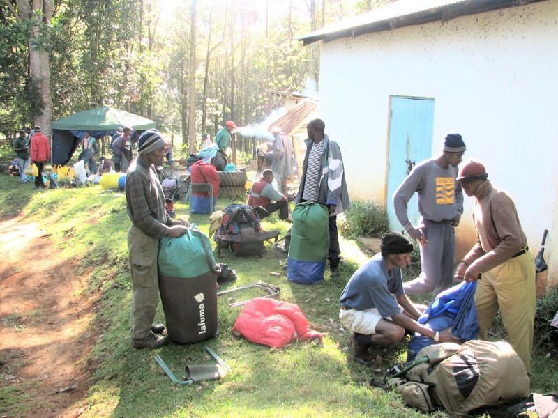 porters in Campsite Forest Gate 1735m. (Mt.Kenya,E.Africa 2005)