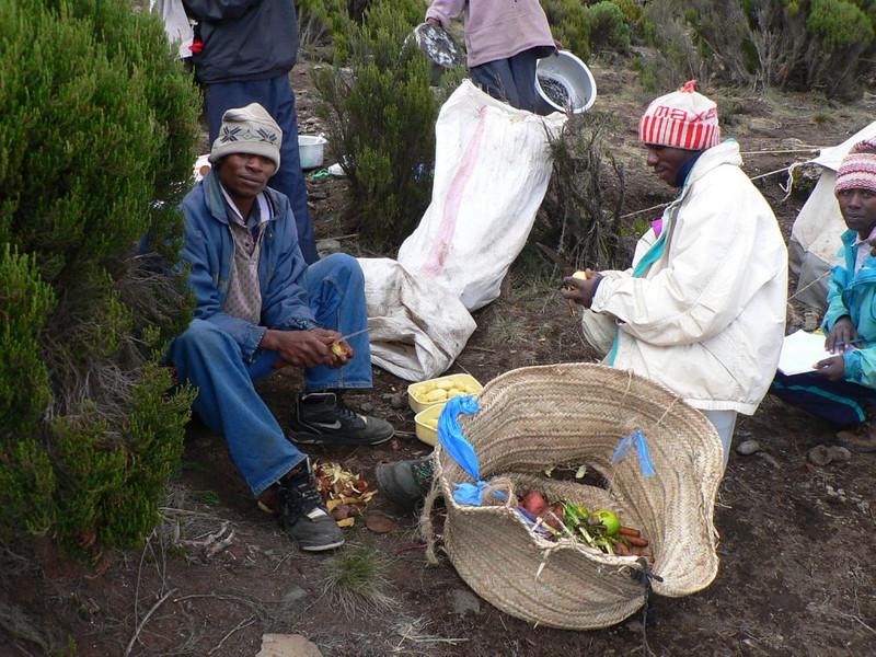 diner preparation  (Kilimanjaro, Tanzania 2005, Millenium Camp 3818m.)