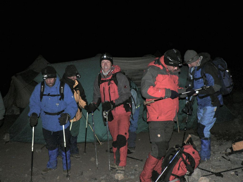 30 Dec. 1.00 AM ascent summit Kilimanjaro  (Kilimanjaro, Tanzania 2005 Arrow Glacier Camp 4872m.)