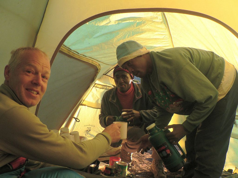 31 Dec.morning:  tea time (Kilimanjaro, Tanzania 2005)
