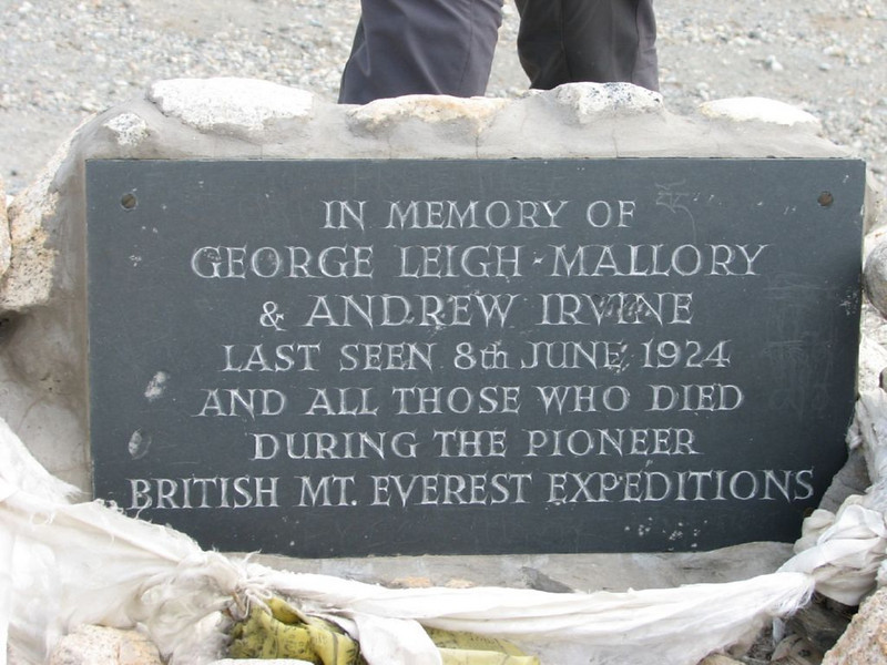 Memory stone Base Camp Everset of Mallory and Irvine (Tibet 2006 Lakpa Ri Expedition)