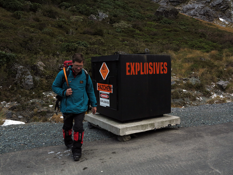 Al checks out the Geovert explosives cache at Homer Tunnel (strap on the nitro)