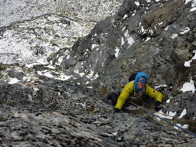 Ruari past the crux and into the awesome turf of the upper fourth pitch