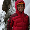 At the top of the pitch (not that you can tell) - Rose at the hanging belay