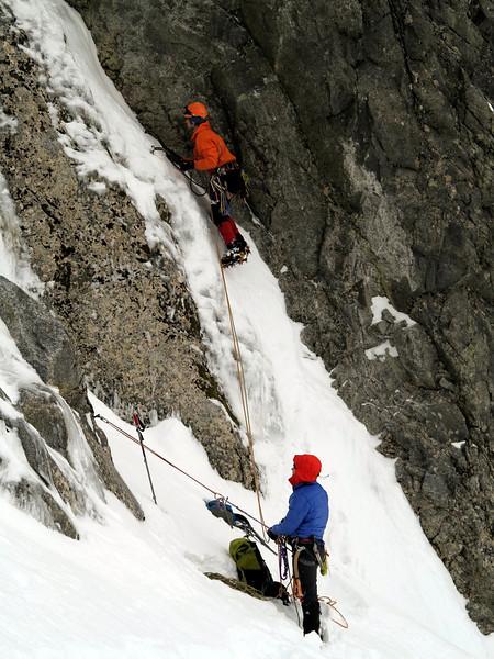 Danny Murphy tries a wee corner route, belayed by Kieran Parsons