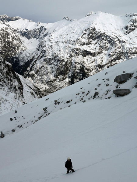 Heather Rhodes at the ice crag in upper Cirque Creek, Monkey Creek at rear left