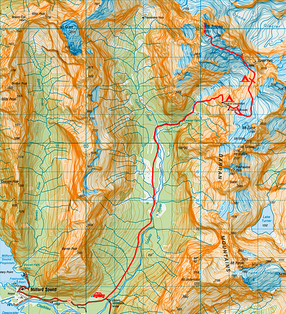 Our route - 1 grid square = 1km (topo courtesy D. Hegg and LINZ)
