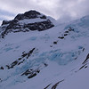 Madeline icefall. The guide tells you to sidle under it (snowslope ledge at centre) but it's scary and the seracs overhang above you - we chose to go around right and sidle above the icefall!
