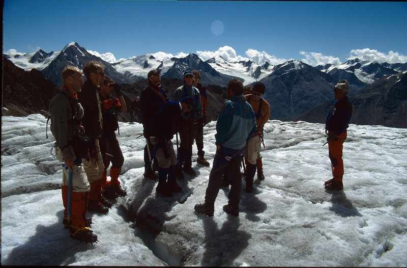 practice on the glacier (Vent, C1 course: rock and ice and tour, 1999)