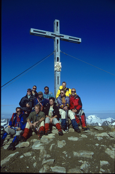 summit Similaun 3606m. 27 Aug. (Vent, C1 course: rock and ice and tour, 1999)