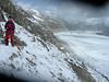via ferrata to the Konkordiahutte 2850m. (background Grosse Aletschglacier)