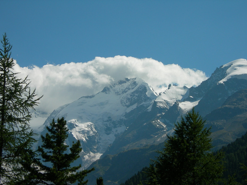 Piz Bernina and the Biancograat (view from the East site of the Bernina Alps during our way back home)
