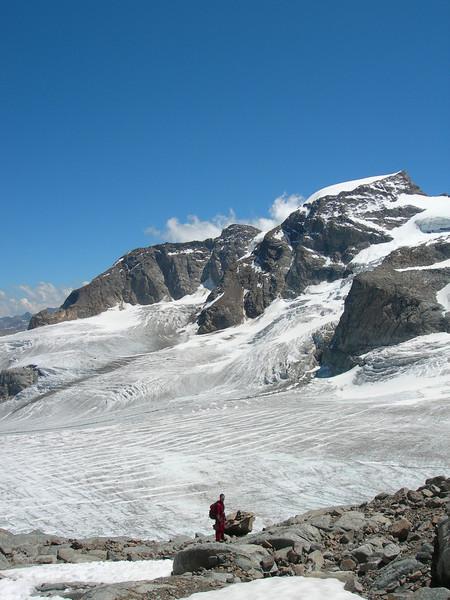 Vadret Pers glacier with Piz Palu 3901m.