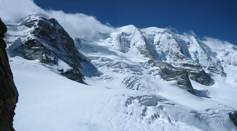 Piz Trovat 3146m and Piz Palu 3901m (Bernina)