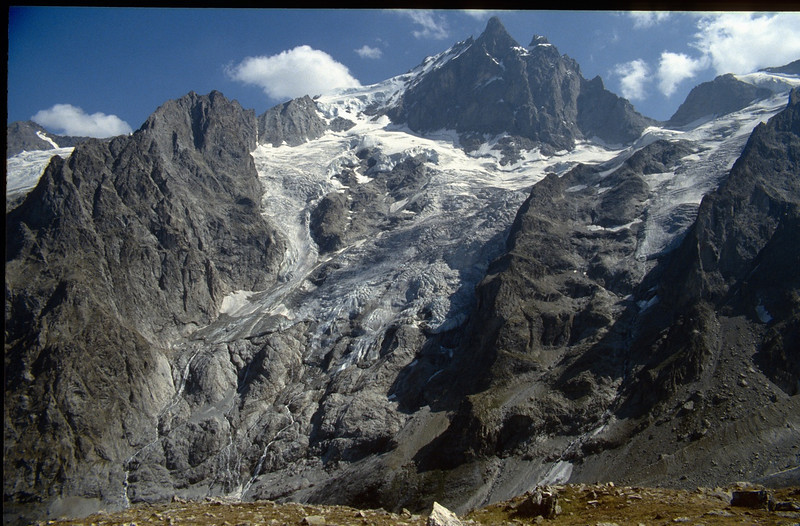view from Pont Vieux, Villar d' Arene at the La Meije, 3982m. (the Ecrins 1993)