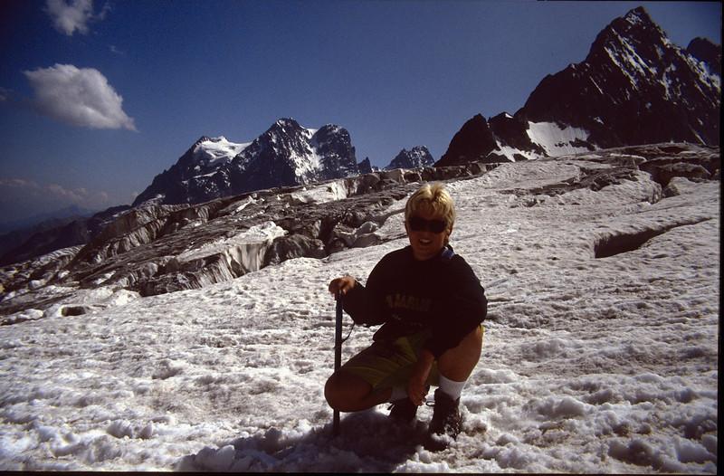 Jeroen and view at Glacier Blanc and the Mont Pelvoux 3943m (the Ecrins 1992)
