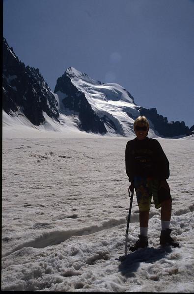 Glacier Blanc and view at Barre des Ecrins 4102m. (the Ecrins 1992)
