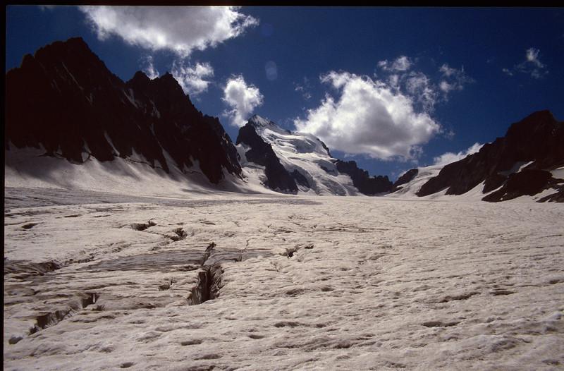Glacier Blanc and Barre de Escrins 4102m. (the Ecrins 1992)