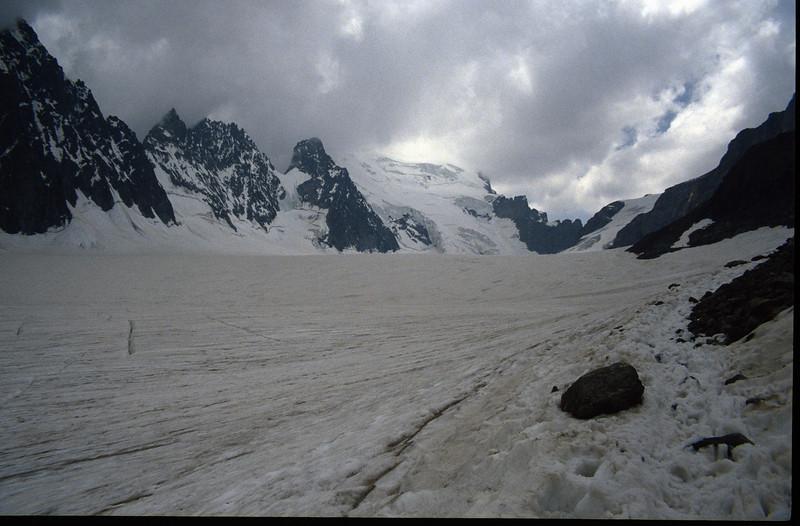 Glacier Blanc and the Barre des Ecrins 4102m. (the Ecrins 1992, 93)