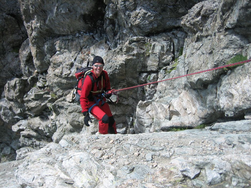 rappel,descent of Mont Pelvoux