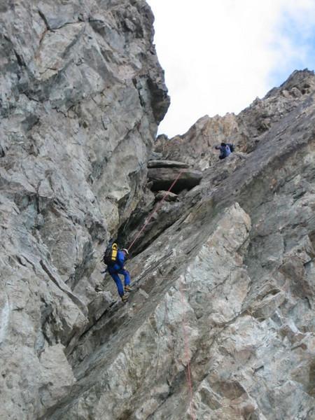 rappel, descent of Mont Pelvoux 3943m.