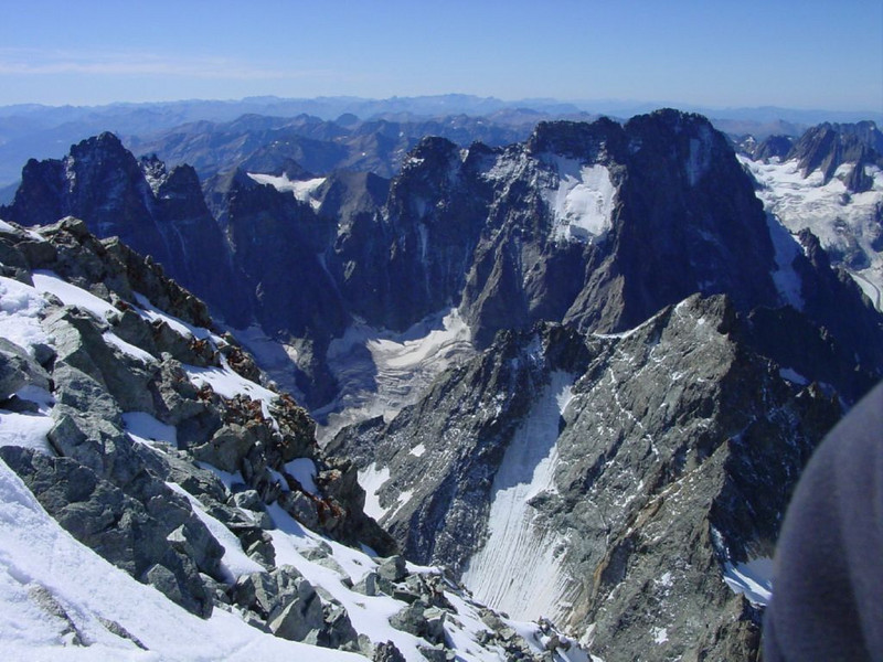 view from the Barre des Ecrins 4102m.
