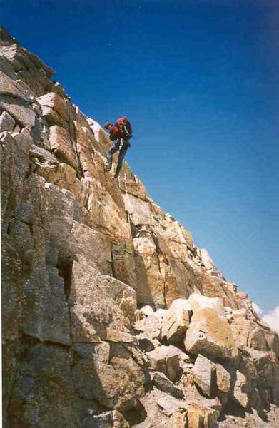rappel, descent Ciarforon (Gran Paradiso, Italy 2002)
