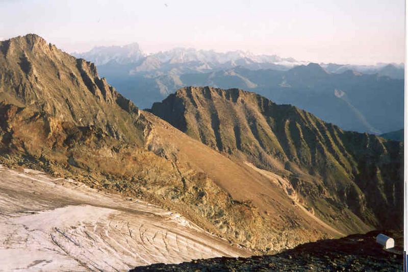 la Grivola, 3969m. and Ghiacciaio del Trajo (glacier) and bivouac Gratton 3198m. (Gran Paradiso, Italy 2002)