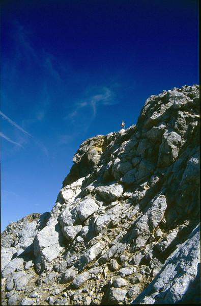 Saskia on the summit of the Hochstuhl (VRH Stol) 2236m. (Julian Alps, yougoslavia 1987)