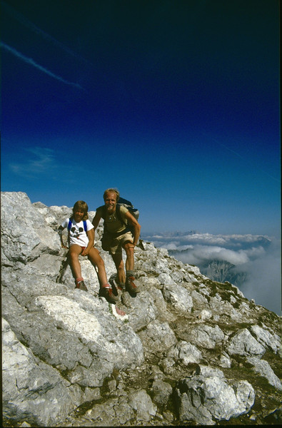 highest summit of the Karawanken the Hochstuhl (VRH Stol) 2236m. (Julian Alps, yougoslavia 1987)