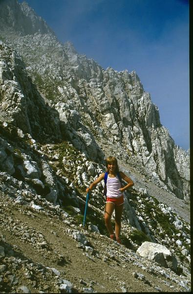 ascent of the Hochstuhl (VRH Stol) 2236m. (Julian Alps, yougoslavia 1987)