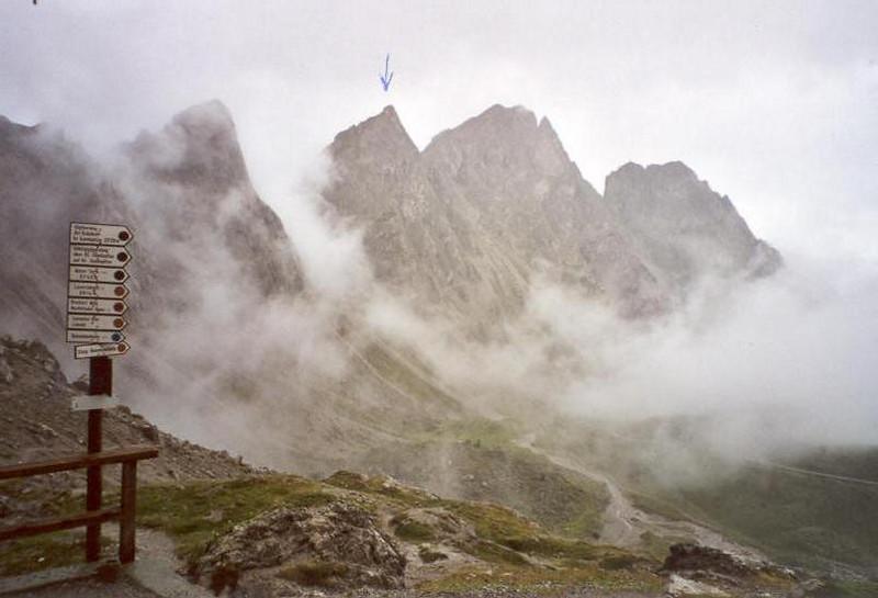 5 Aug. Foggy Kleinen Gamswiesenspitze North East side East summit 2454m. (Lienzer Dolomites, C II course Rockclimbing 2000)