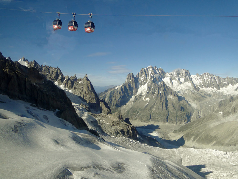 Telecabine Vallée Blanche, Route: Helbronner 3462m - Aiguille du Midi 3842m (Telecabine Vallée Blanche)