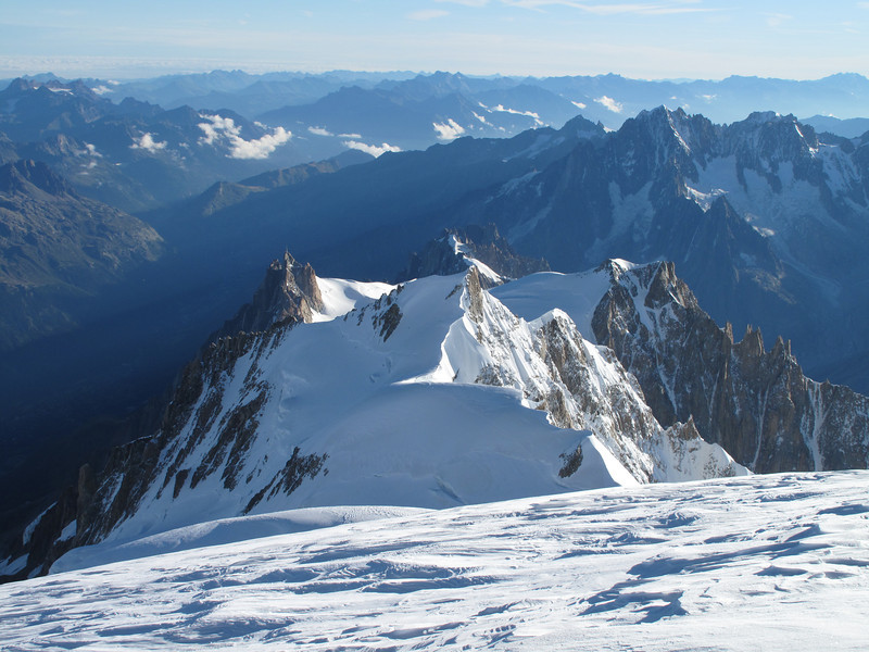 View at Aiguille du Midi, View from summit Mont Blanc 4810m