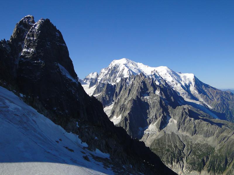 Les Drus 3754m and Mount Blanc 4810m