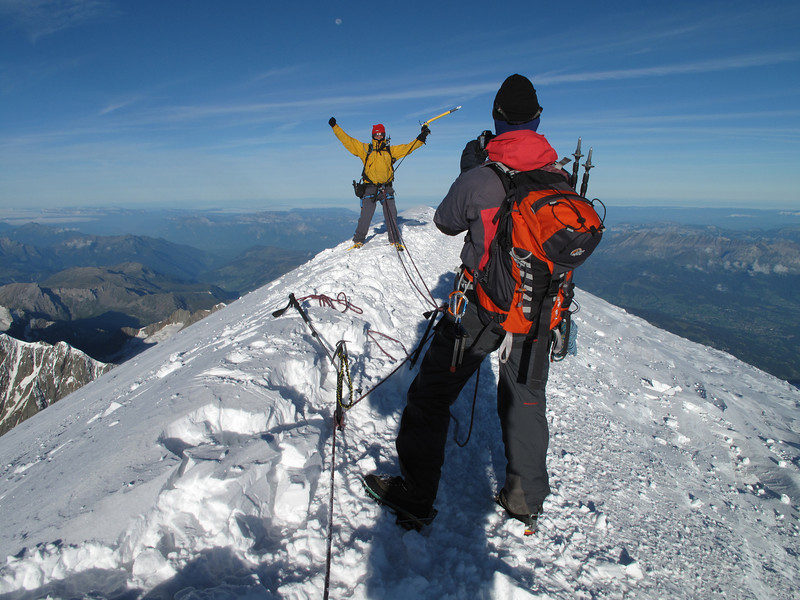 Frank on the summit.   Ascending Mont Blanc 4810m