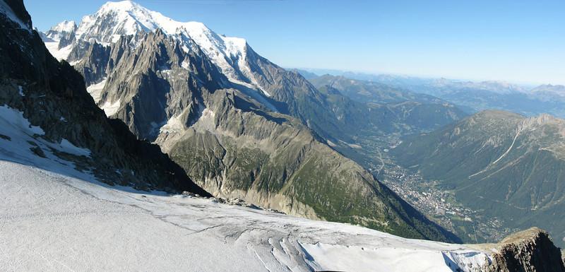 View at Chamonix, Mount Blanc massif 4810m