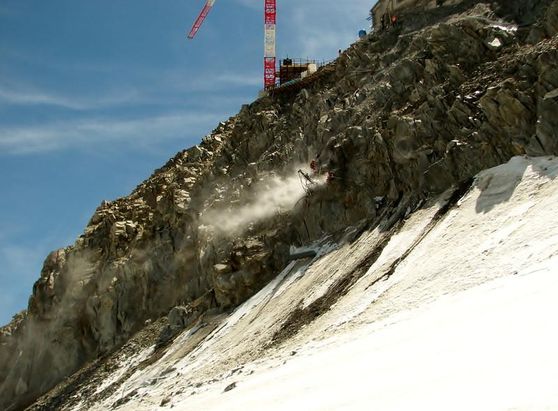 Construction works near Refuge Torino, track Tour Ronde 3792m- Refuge Torino vecchio, Italy 3338m
