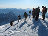 Busy at the summit Mont Blanc 4810m. Highest point of Western Europe