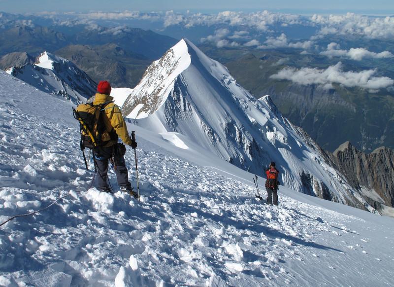 View at Aiguille du Bionnassay 4052m.  Descending Mont Blanc 4810m