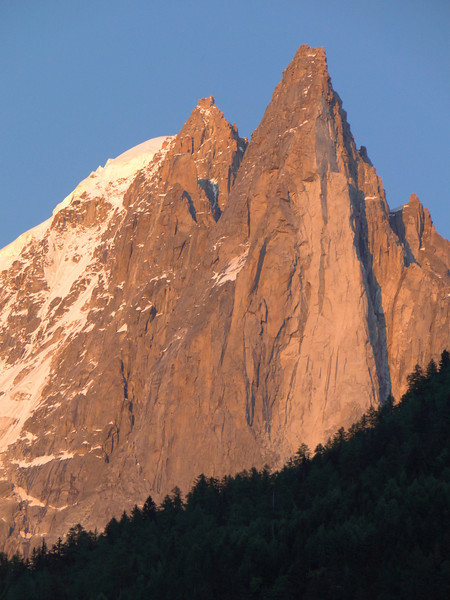Evening view at La Verte 4121m and Les Drus 3754m, Chamonix