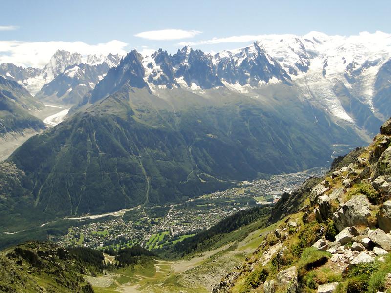 View on Chamonix, Rock climbing, L'Index 2385m (Aiguille Rouges)