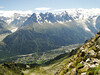 View on Chamonix, Rock climbing, L'Index 2385m (Aiguille Rouges)