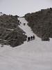 Climbing the snow couloir, track Refuge Torino, Italy 3338m - Arête de la Rochefort 3928m ( Rochefort arete)