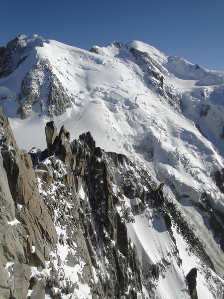 Our goal for next day: Arête de Cosmiques,(in background M. Blanc 4810m). Route: Helbronner 3462m - Aiguille du Midi 3842m (Telecabine Vallée Blanche)