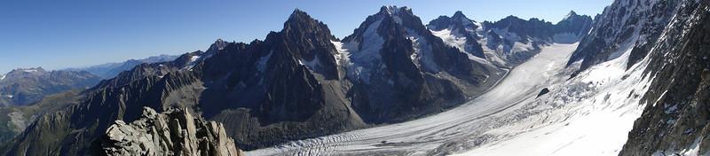 Argentière glacier with Aiguille du Chardonnet 3824m, Aiguille d'Argentière 3902m and Mont Dolent 3819m, (three country border)