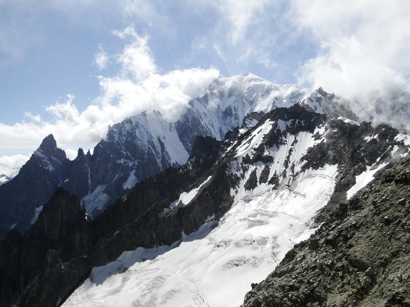 Mont Maudit 4468m and Mont Blanc 4810m, near Refuge Torino, Italy 3338m