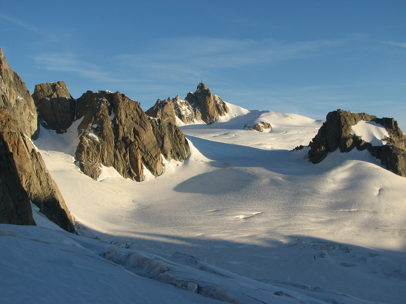 Glacier du Géant with in the back Aiguille du Midi.  Route Refuge Torino, Italy 3338m- la Tour Ronde 3792m v.v.