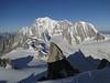 View at Mont Blanc massif, route Refuge Torino, Italy 3338m - Arête de la Rochefort 3928m ( Rochefort ridge)
