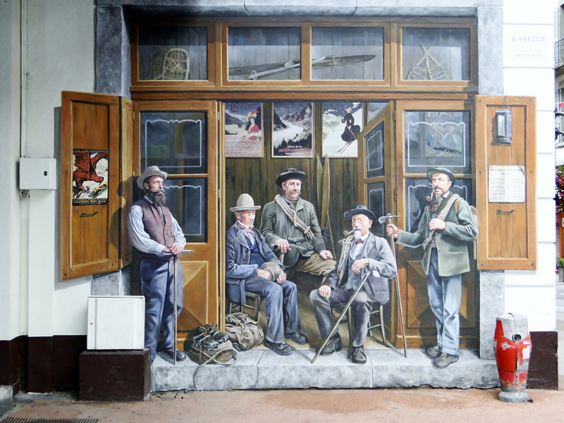 Wall painting of famous mountaineers, Chamonix